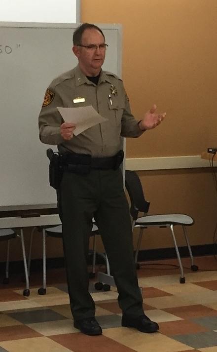 Crook County Sheriff John Gautney presenting to citizen committee.