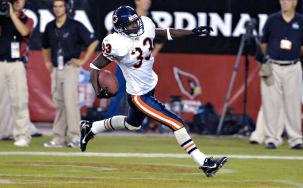 """""""Peanut"""" spent 12 years of his career with the Chicago Bears, carving out a niche as an underrated cover corner and one of the greatest takeaway machines in NFL history, tallying 44 forced fumbles, 38 interceptions, and ranking 7th all-time in interception return touchdowns with eight—all as a member of the Bears."""