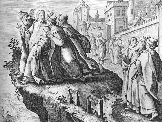 "Male accipitur IESVS in patria ""Jesus is rejected in his hometown"", Jerome Nadal, S.J. (1507-1580),  Evangelicæ Historiæ Imagines"