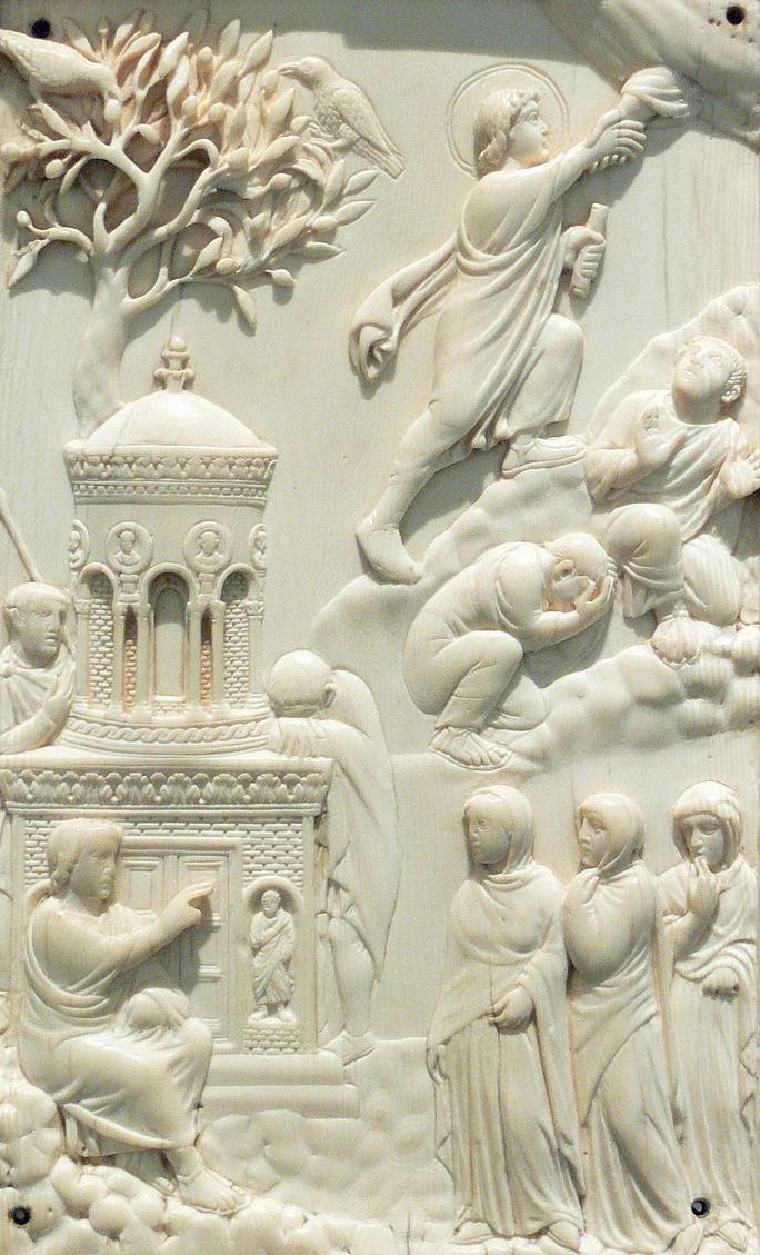Women at the Grave of Christ and Ascension of Christ, Reidersche Tafel; Ivory; Milan or Rome, c. 400 AD