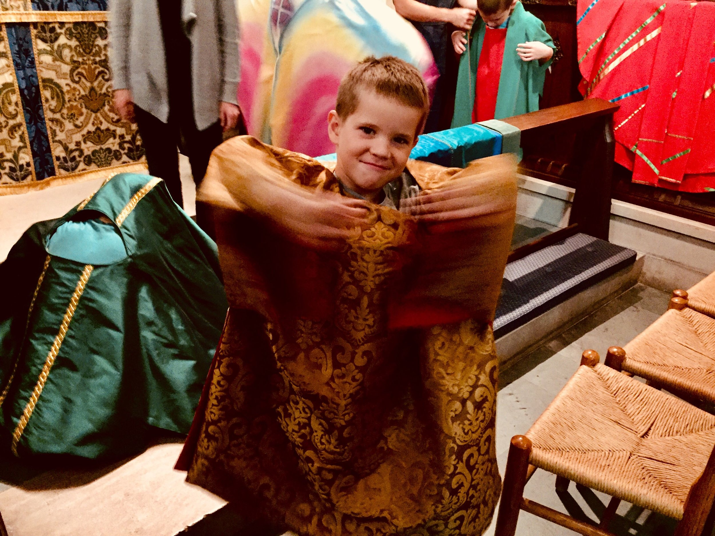 Pilgrimage Night to Canterbury involved trying on vestments to dress like St. Thomas Becket!