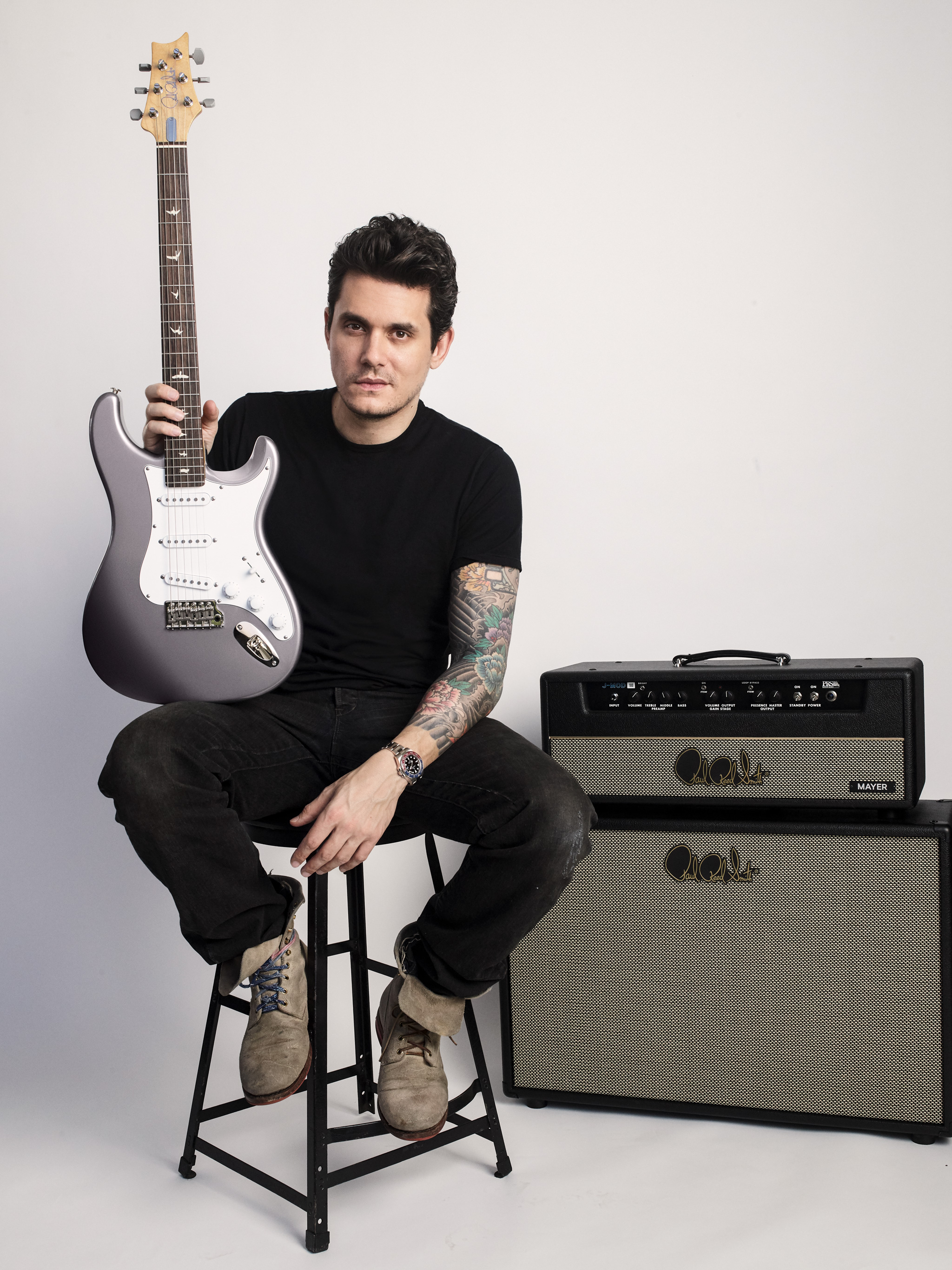 John Mayer and his signature guitar: the silver sky