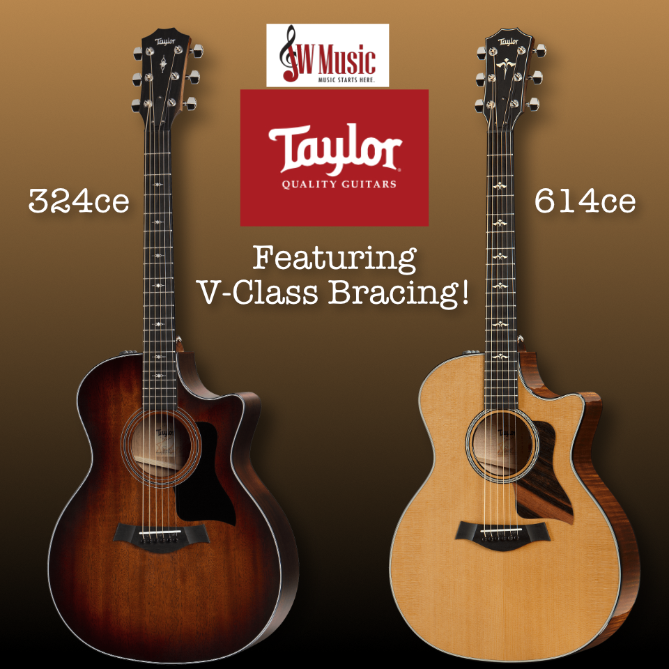 New Taylor 324ce and Taylor 614ce with V-Bracing in Stock!