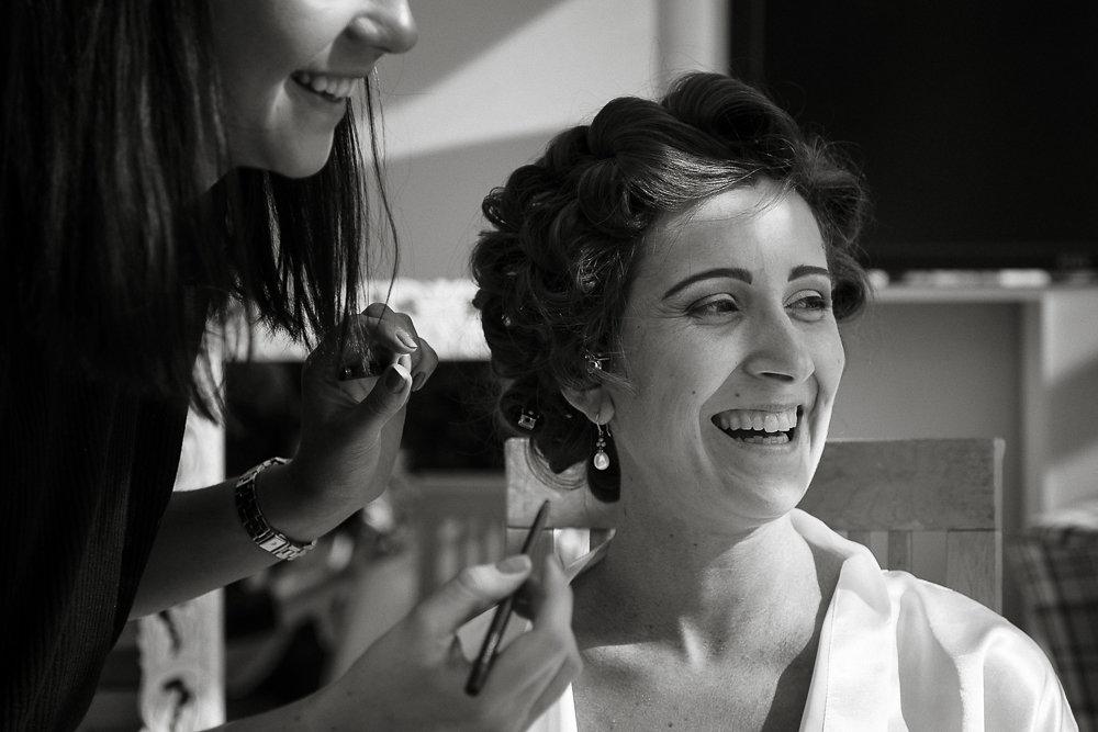 Olivia's wedding makeup- laughing
