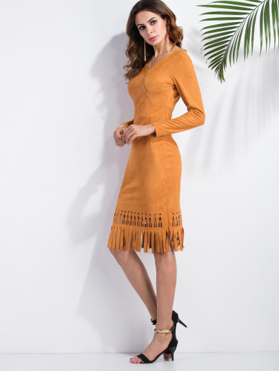 V Neck Laser Cutout Suede Dress