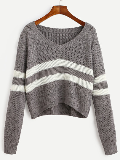 Grey Striped V Crew Neck Crop Sweater