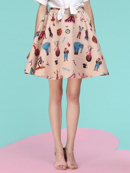 Graphic Printed Midi Skirt