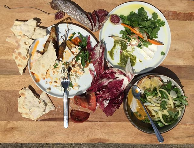 weekend specials are crazy good.  fairytale eggplant with calabrian chiles, roasted sungolds and feta//roasted carrots with labneh, tomatillo and cilantro // pickled peppers and spicy arugula with parsley, roasted poblano and olive oiled doppio // heirloom gazpacho - the list goes on. these tomatoes and salami secchi are pretty dope too.