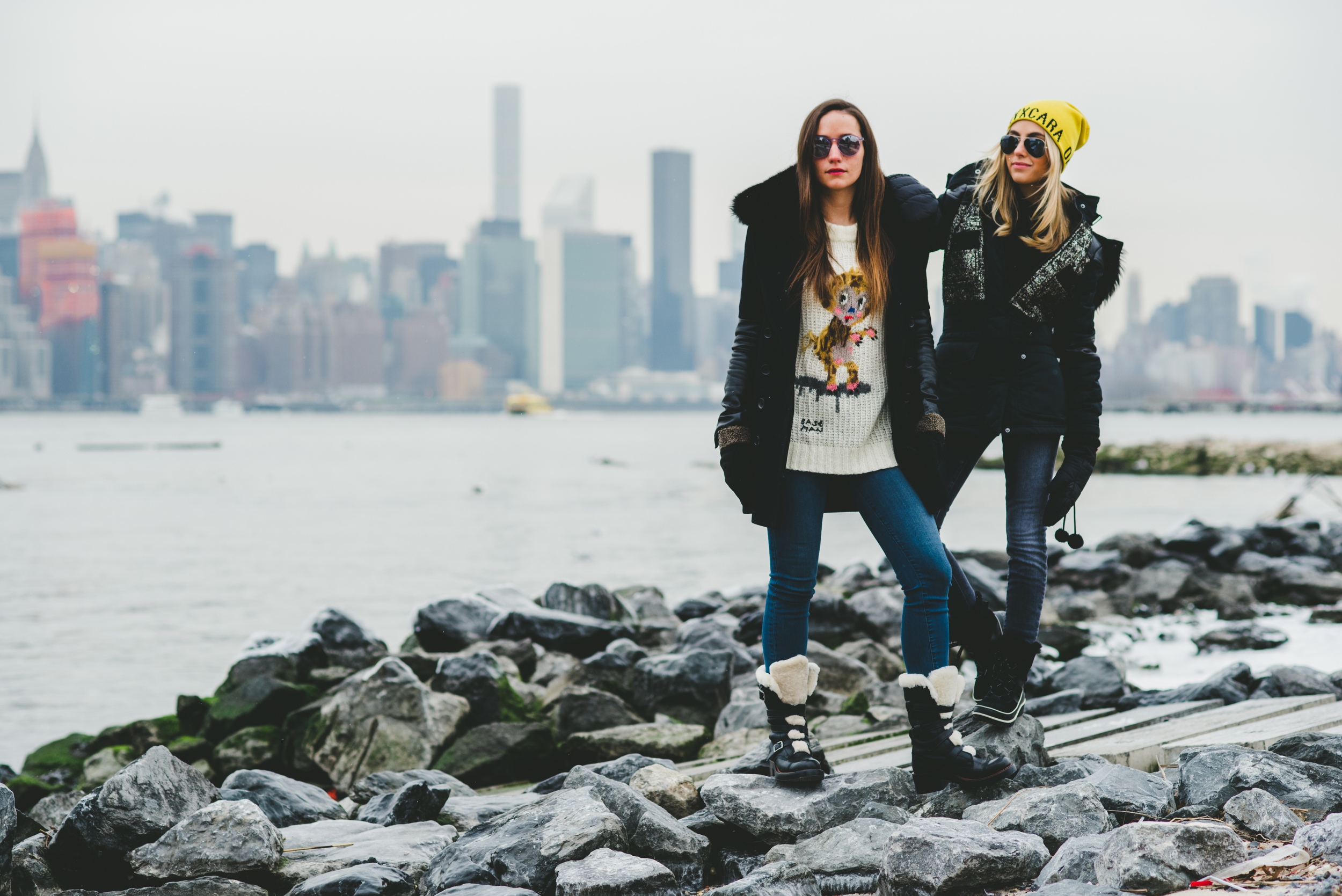 Sophie and Charlotte on Rocks Winter.jpg