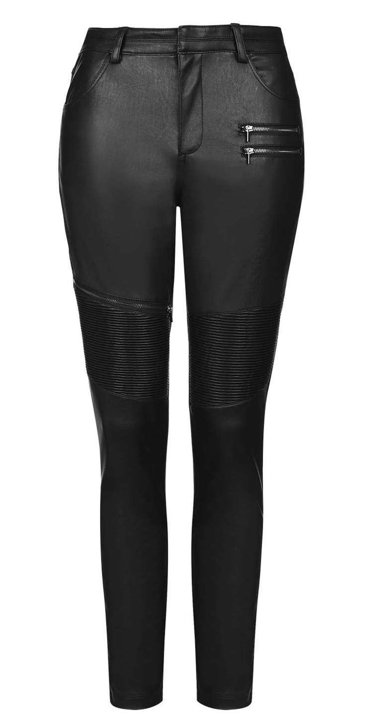 Faux-Leather Biker Trousers