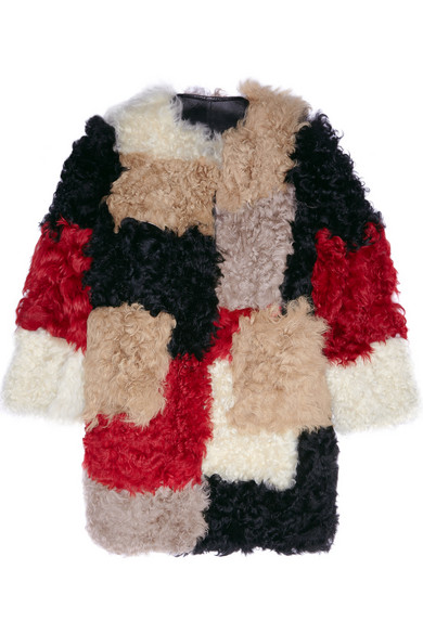 Marni Color Block Shearling Coat