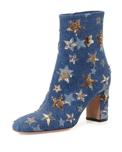 Valentino Denim Star Booties