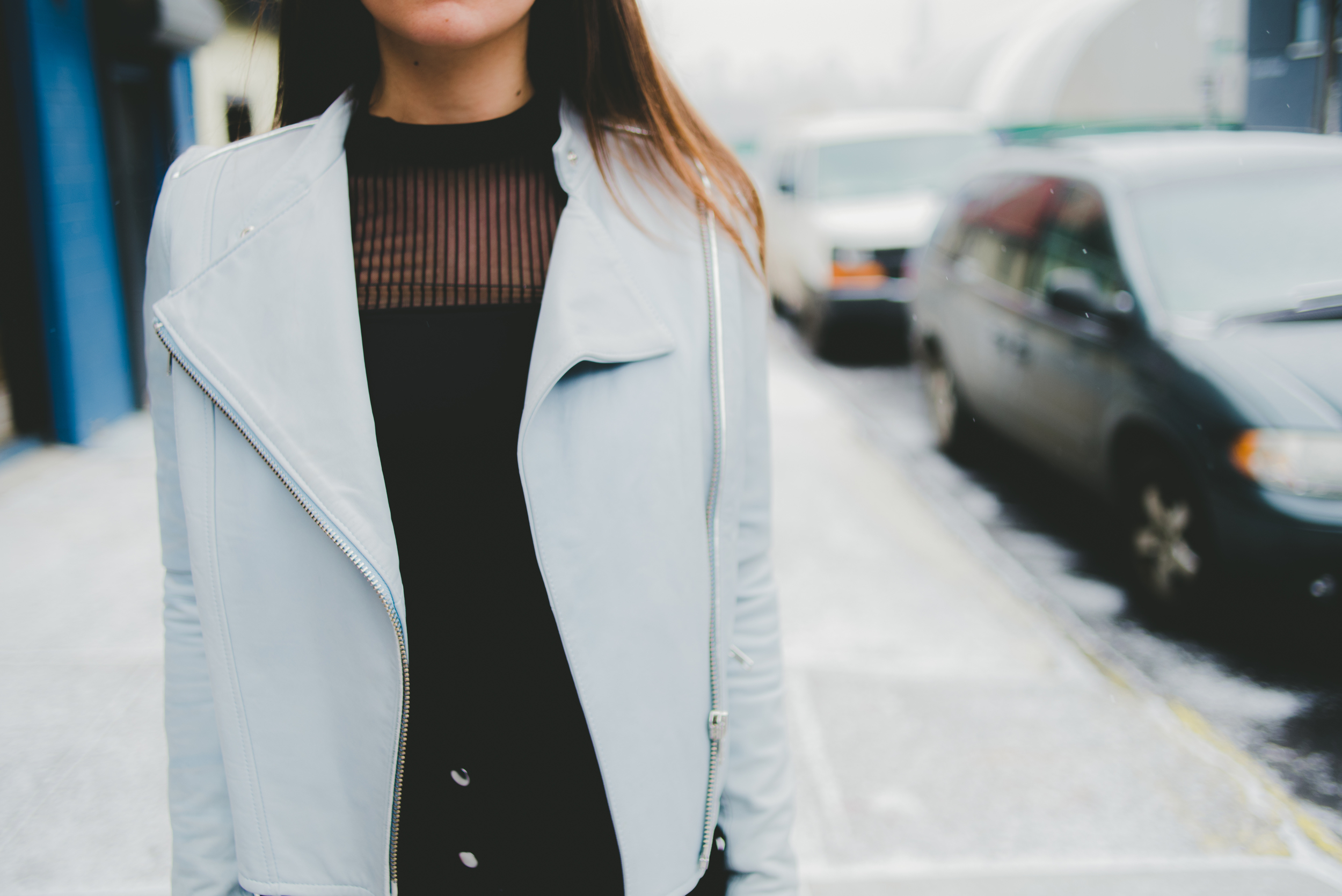 Monika Chiang Blue Leather Jacket