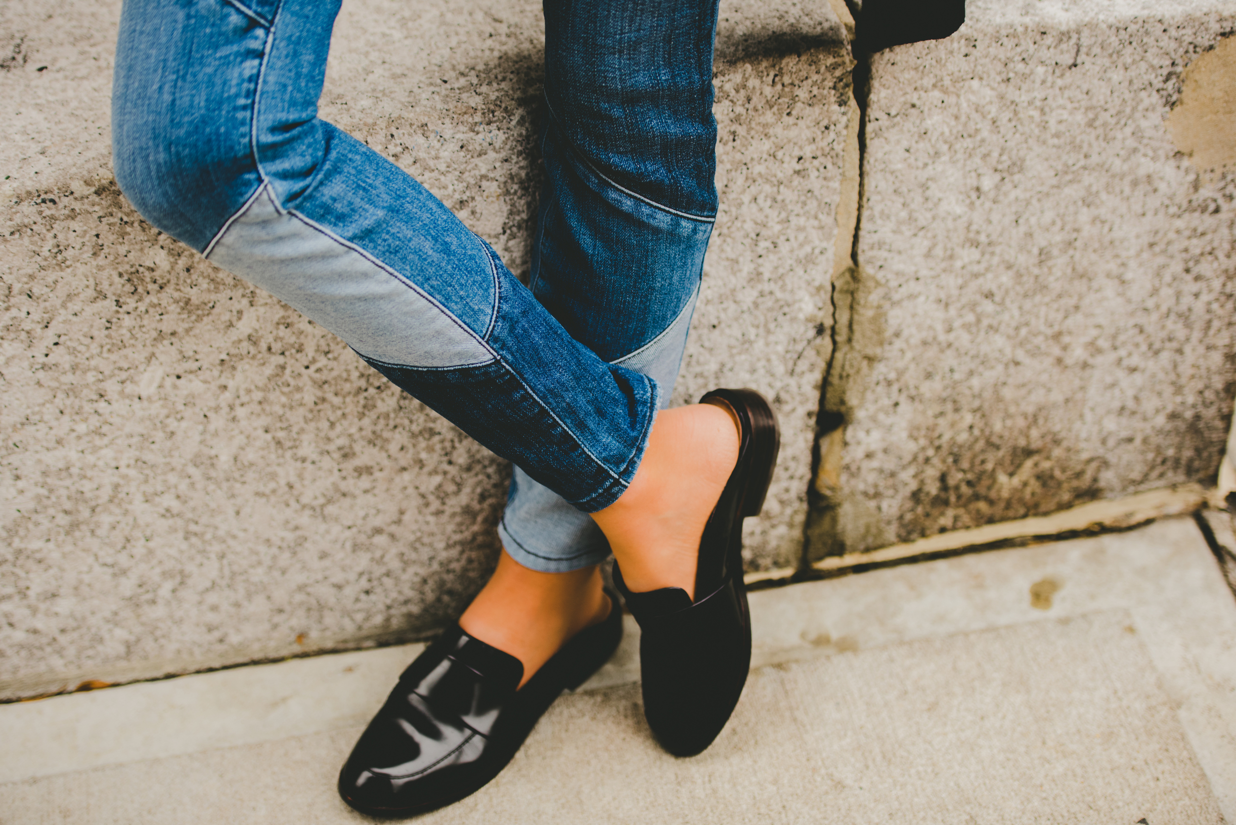 LEATHER BLACK MULES CLOSE UP- NYC STREET STYLE