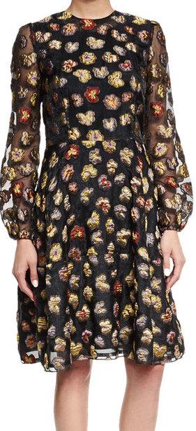 CO LONG-SLEEVE FLORAL DRESS