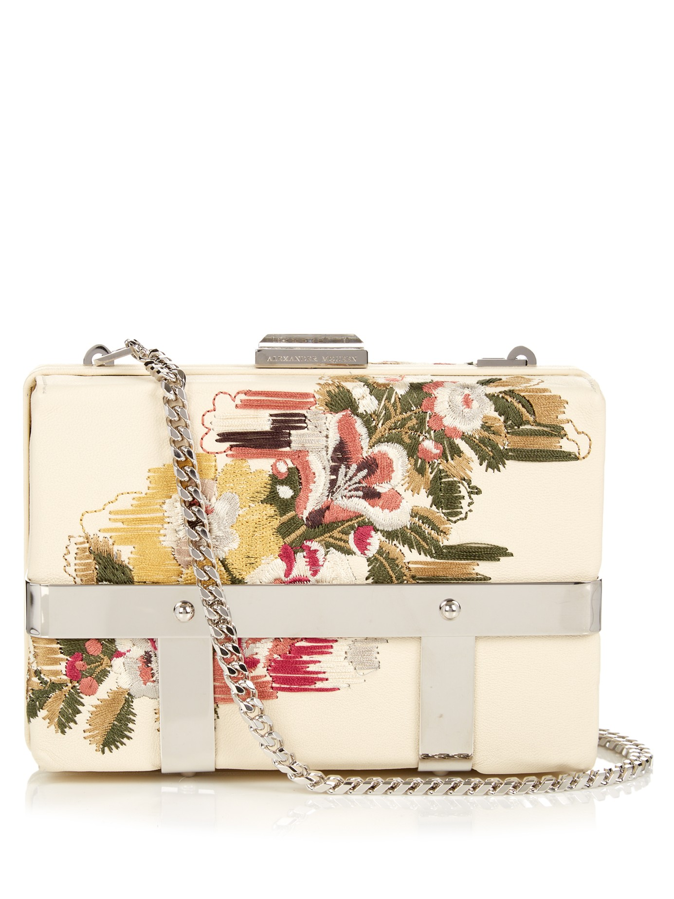 ALEXANDER MCQUEEN FLORAL EMBROIDERED CAGED BAG
