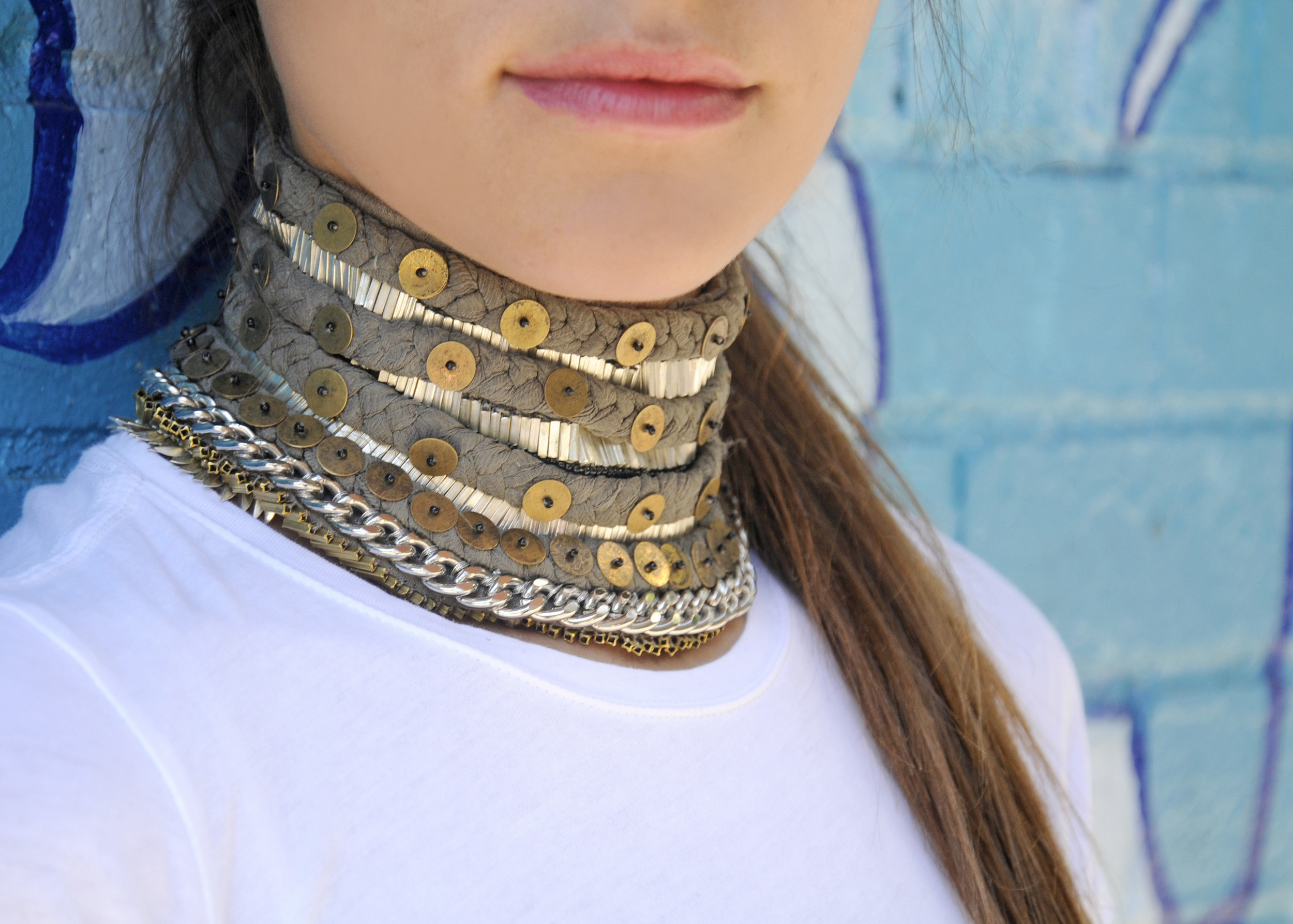 MIGNONNE GAVIGAN LAYNE CHOKER GREY SOPHIE BICKLEY CLOSE UP