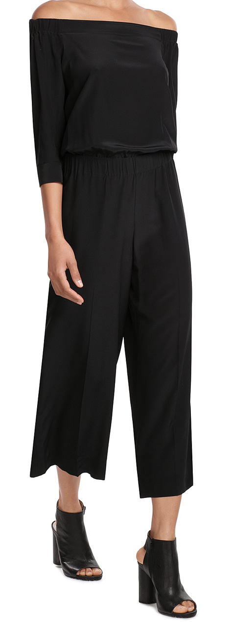 THEORY SILK OFF SHOULDER JUMPSUIT