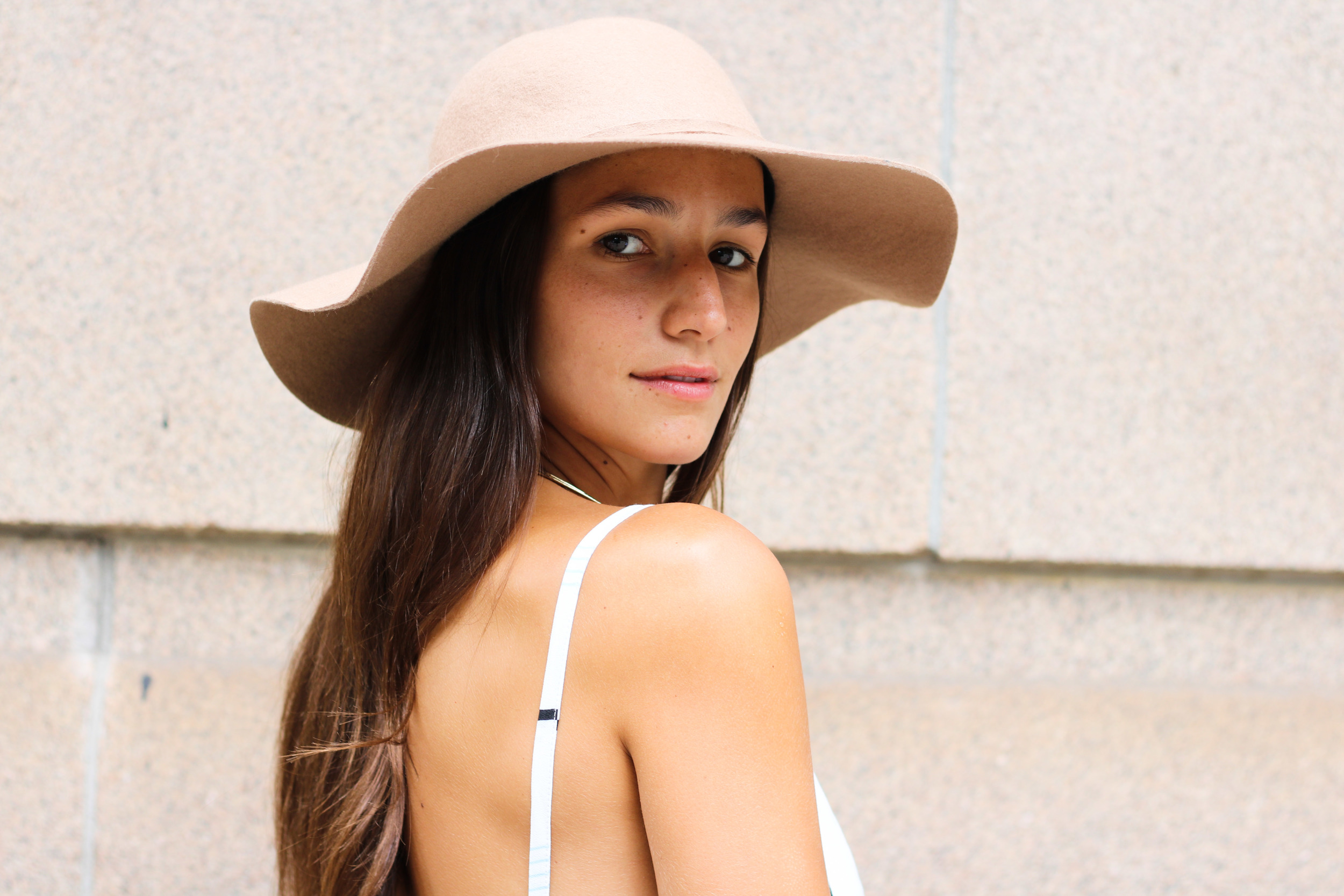 SOPHIE BICKLEY CLOSE UP HAT AND PINSTRIPES NYC STREET STYLE