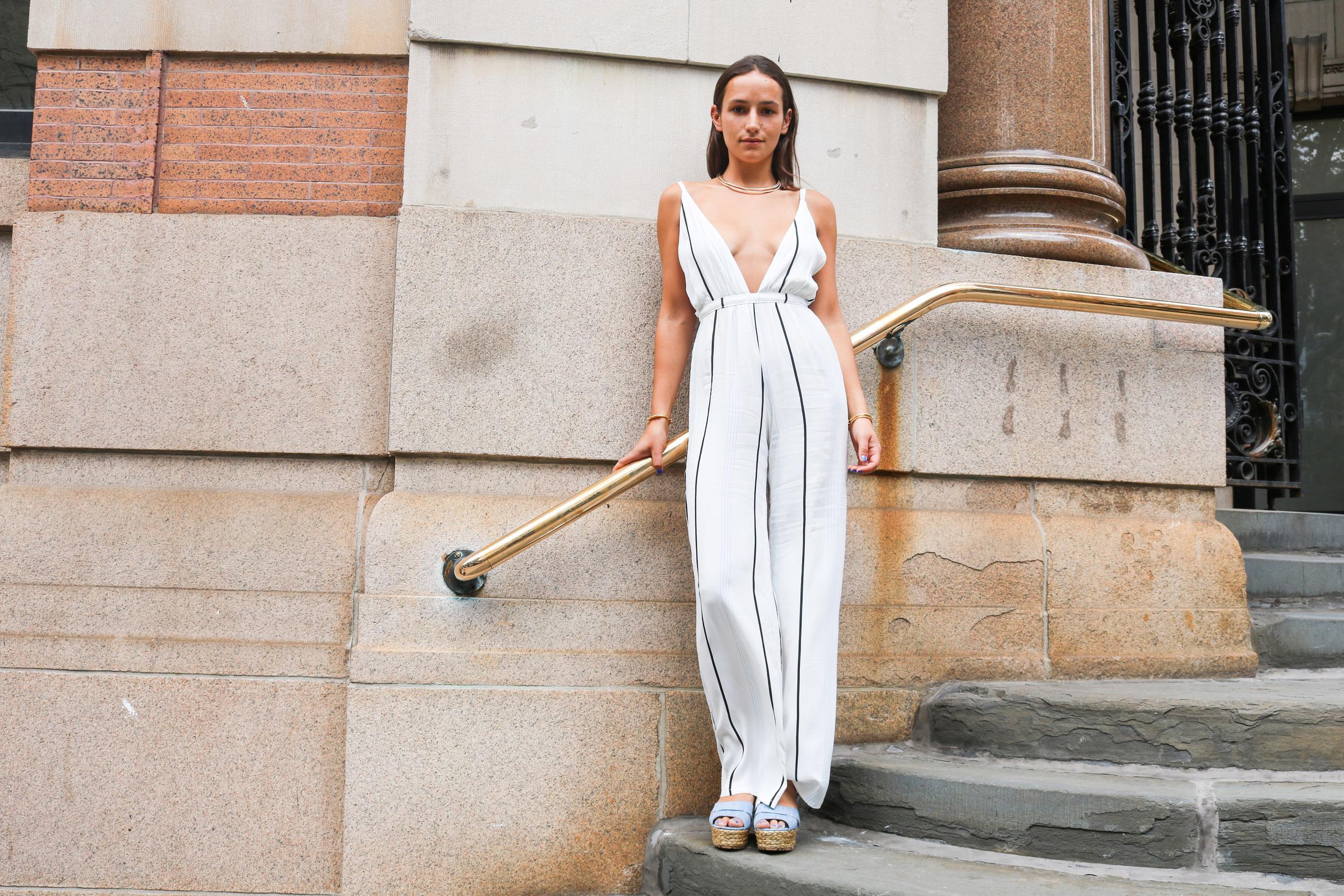 SOPHIE BICKLEY PINSTRIPE JUMPSUIT NYC STREETSTYLE