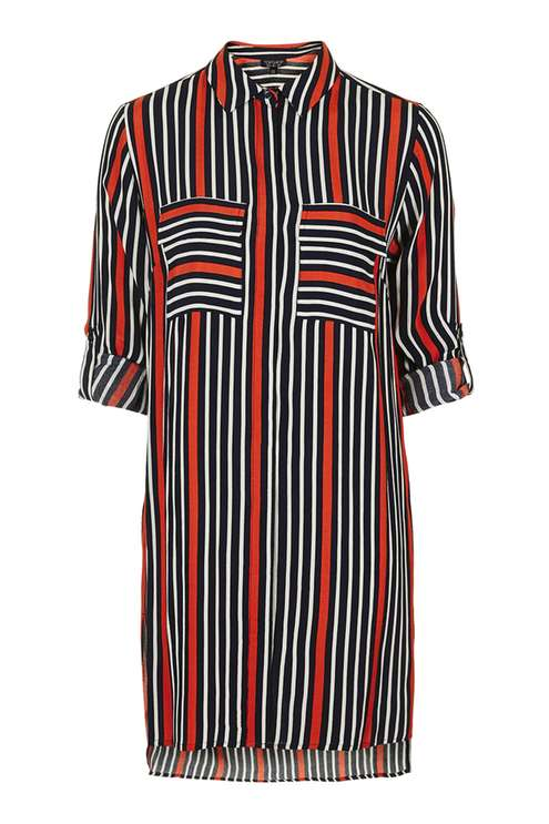 TOPSHOP OVERSIZED STRIPE SHIRT DRESS