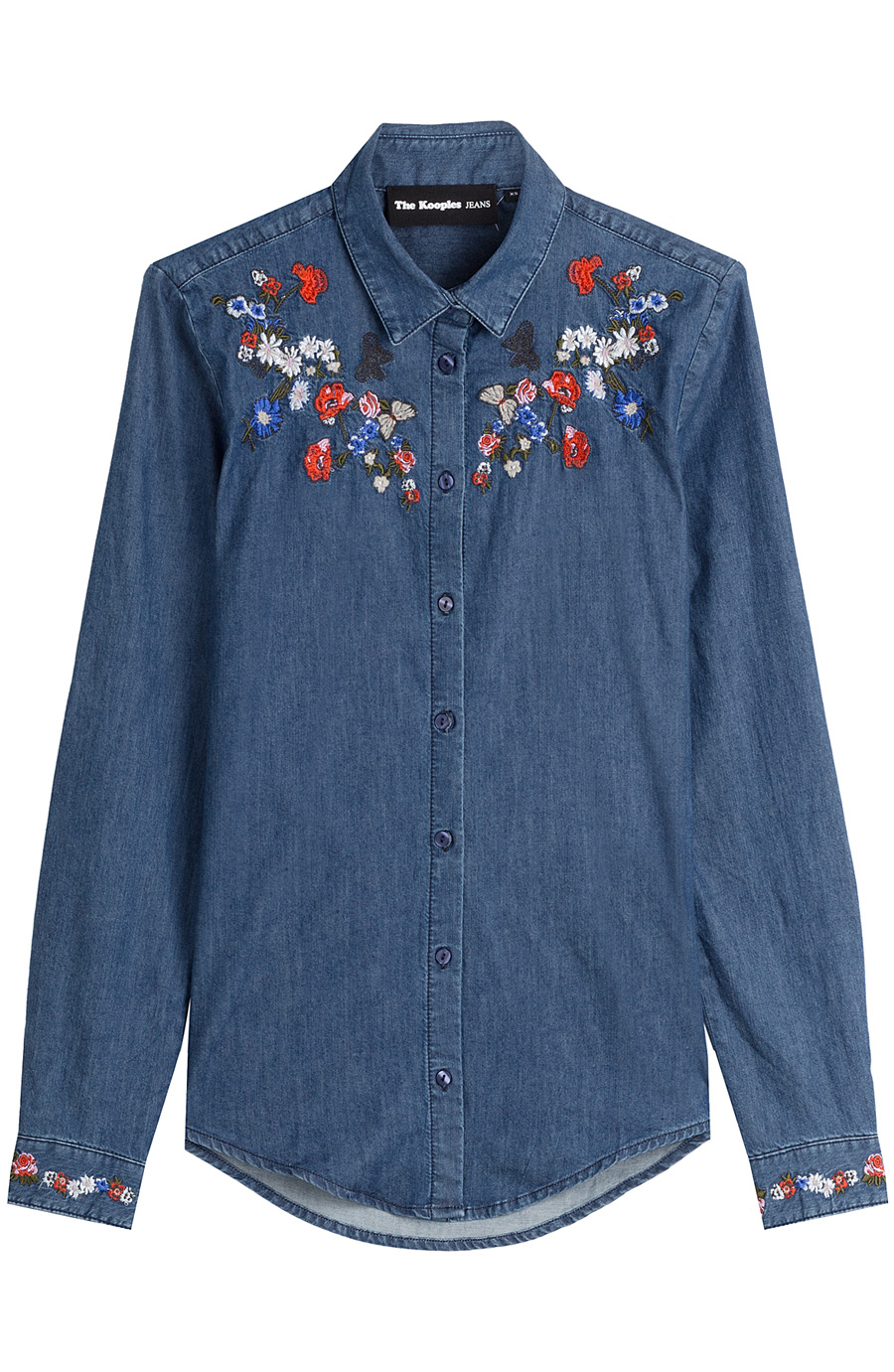 THE KOOPLES DENIM SHIRT WITH EMBROIDERY