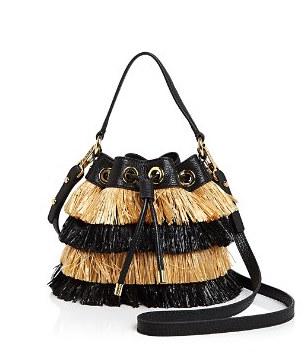 MILLY 'RAFFIA' STRAW BUCKET BAG