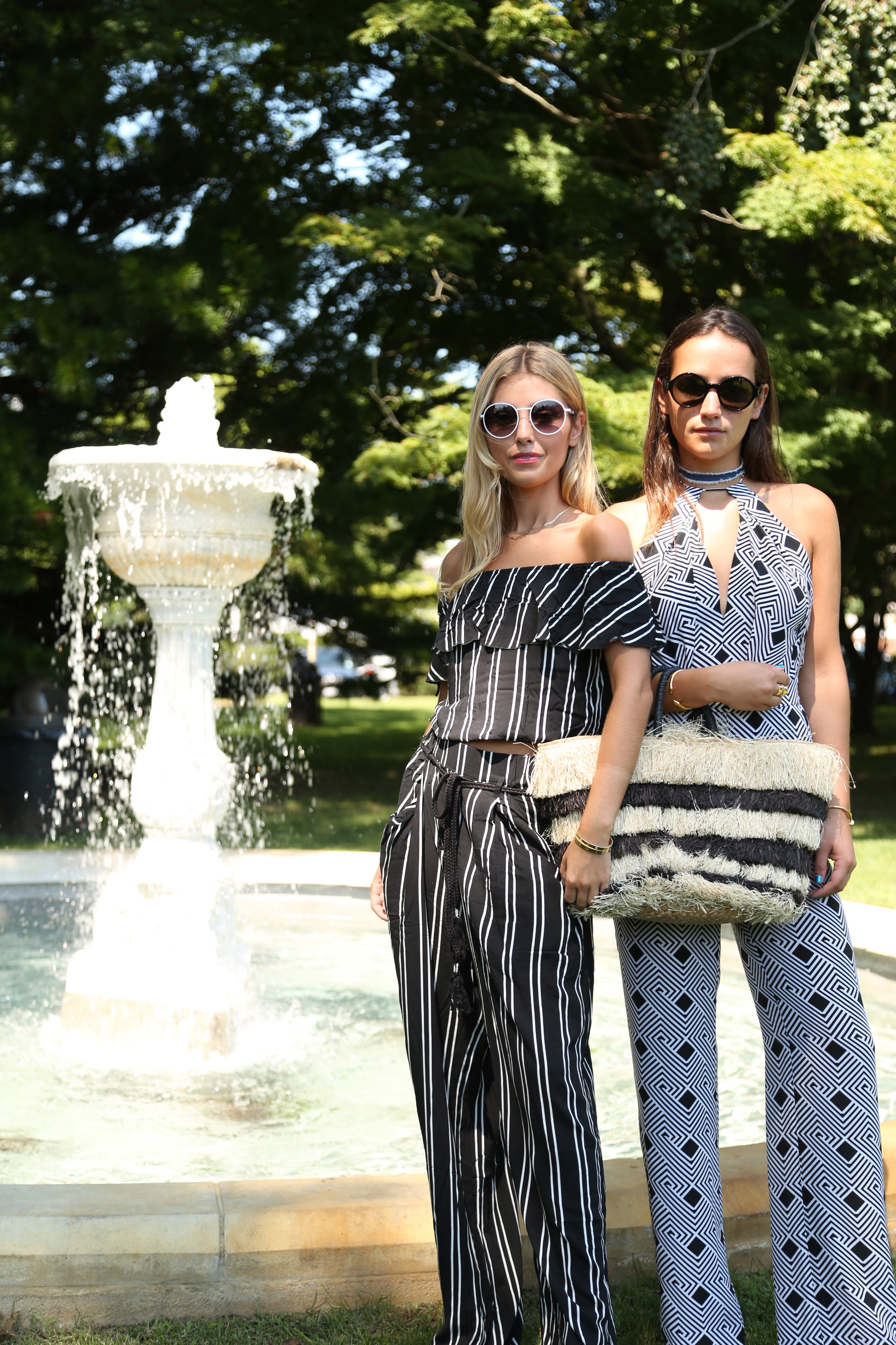 SOPHIE AND CHARLOTTE BICKLEY SISTER BLOGGERS YIN 2MY YANG HAMPTONS NYC STRAW BAG POST