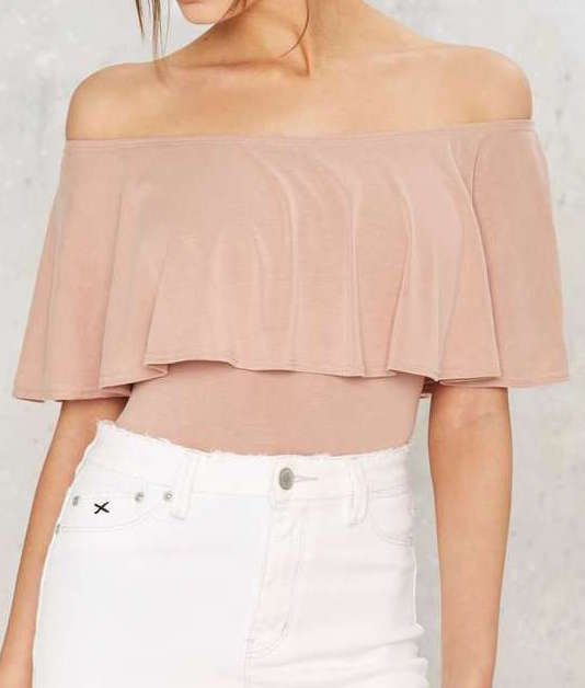 NASTY GAL OFF THE SHOULDER TAUPE TOP