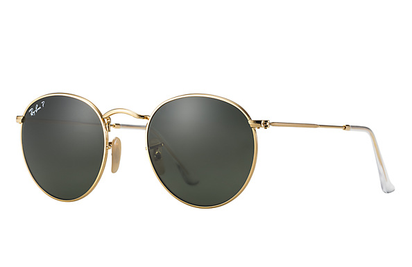 RAY BAN GOLD ROUND METAL FRAME SUNGLASSES