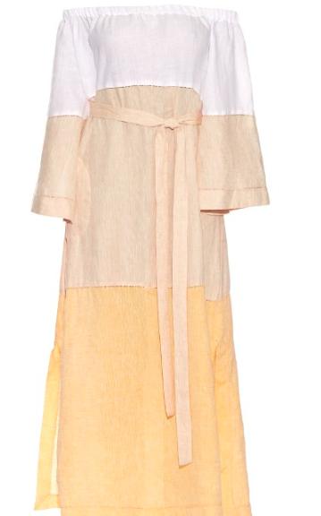 LISA MARIE FERNANDEZ OFF THE SHOULDER LINEN DRESS