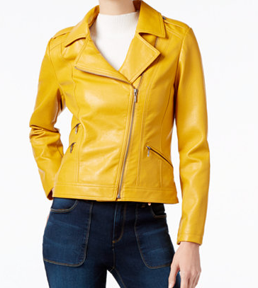 INTERNATIONAL CONCEPTS YELLOW FAUX LEATHER MOTO JACKET