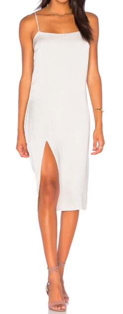 CAPULET WHITE MIDI SLIT LEG SLIP DRESS