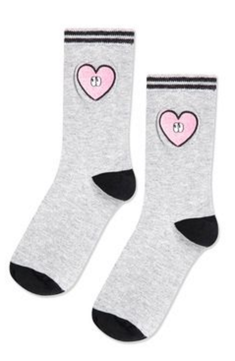 SPORTY EMBROIDERED HEART SOCKS