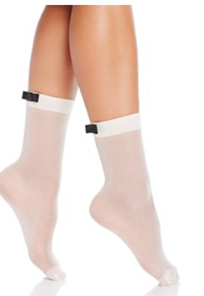 KATE SPADE OVERSIZED SATIN SHEER ANKLET SOCKS