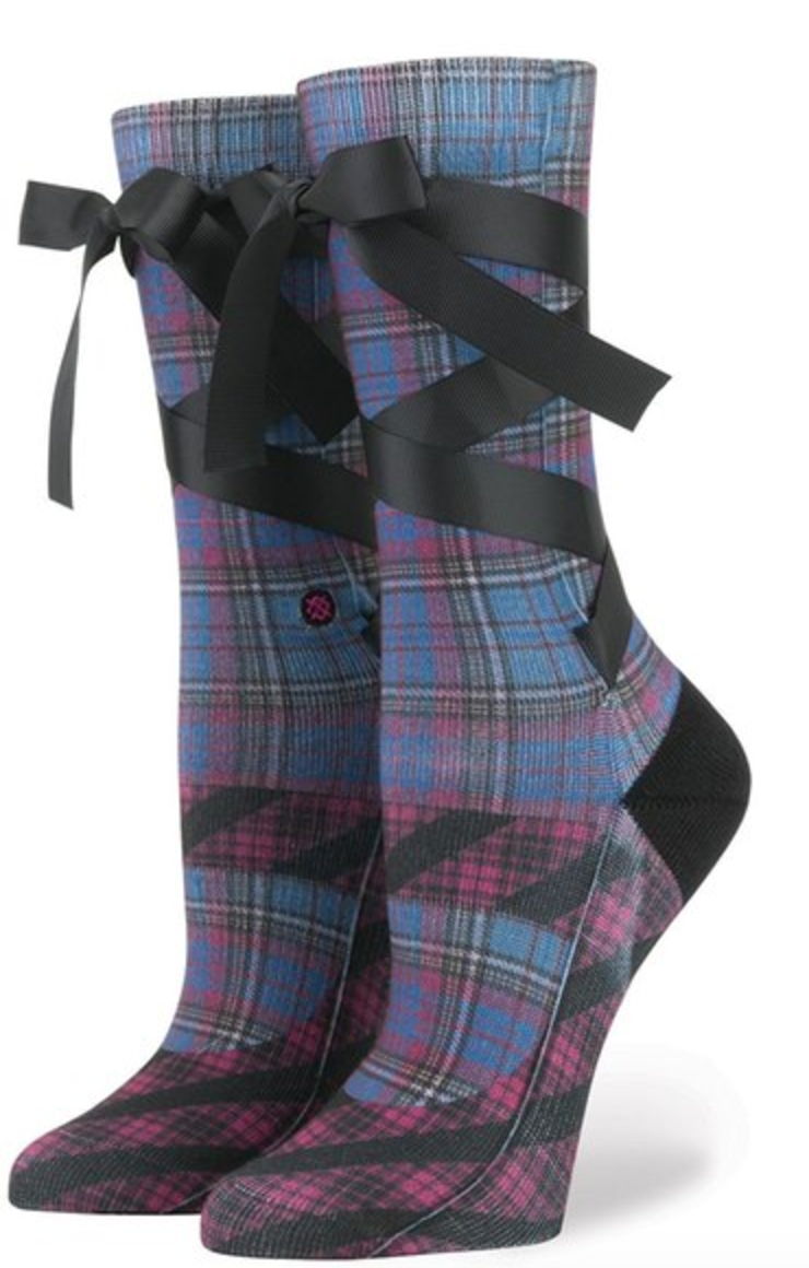 STANCE X RIHANNA MARY JANE PLAID CREW SOCKS