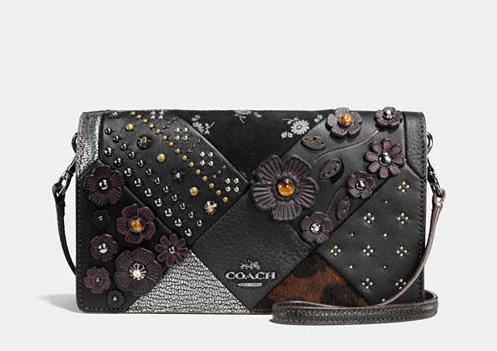 COACH FOLDOVER CROSSBODY EMBELLISHED CANYON QUILT LEATHER