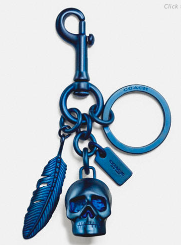 COACH SKULL AND FEATHER KEY RING