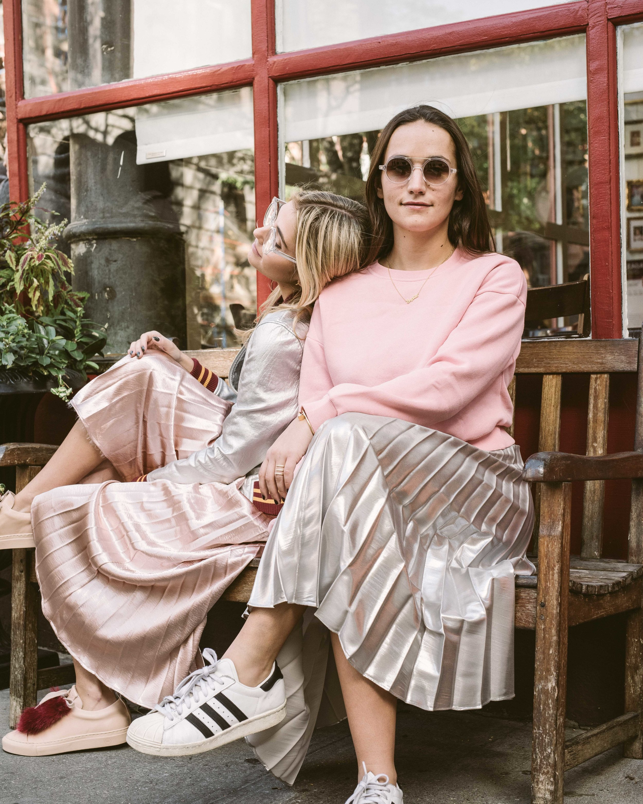 SOPHIE AND CHARLOTTE BICKLEY SISTER FASHION BLOGGERS YIN 2MY YANG PLEATED SKIRTS 4.JPG