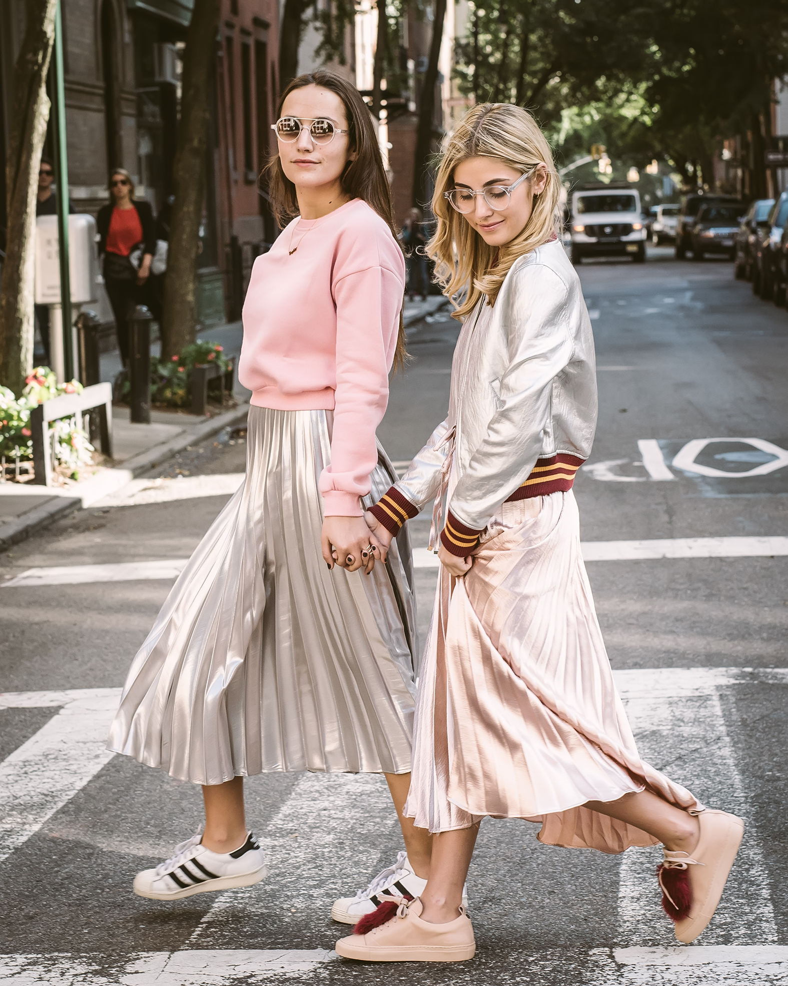 SOPHIE AND CHARLOTTE BICKLEY SISTER FASHION BLOGGERS YIN 2MY YANG PLEATED SKIRTS