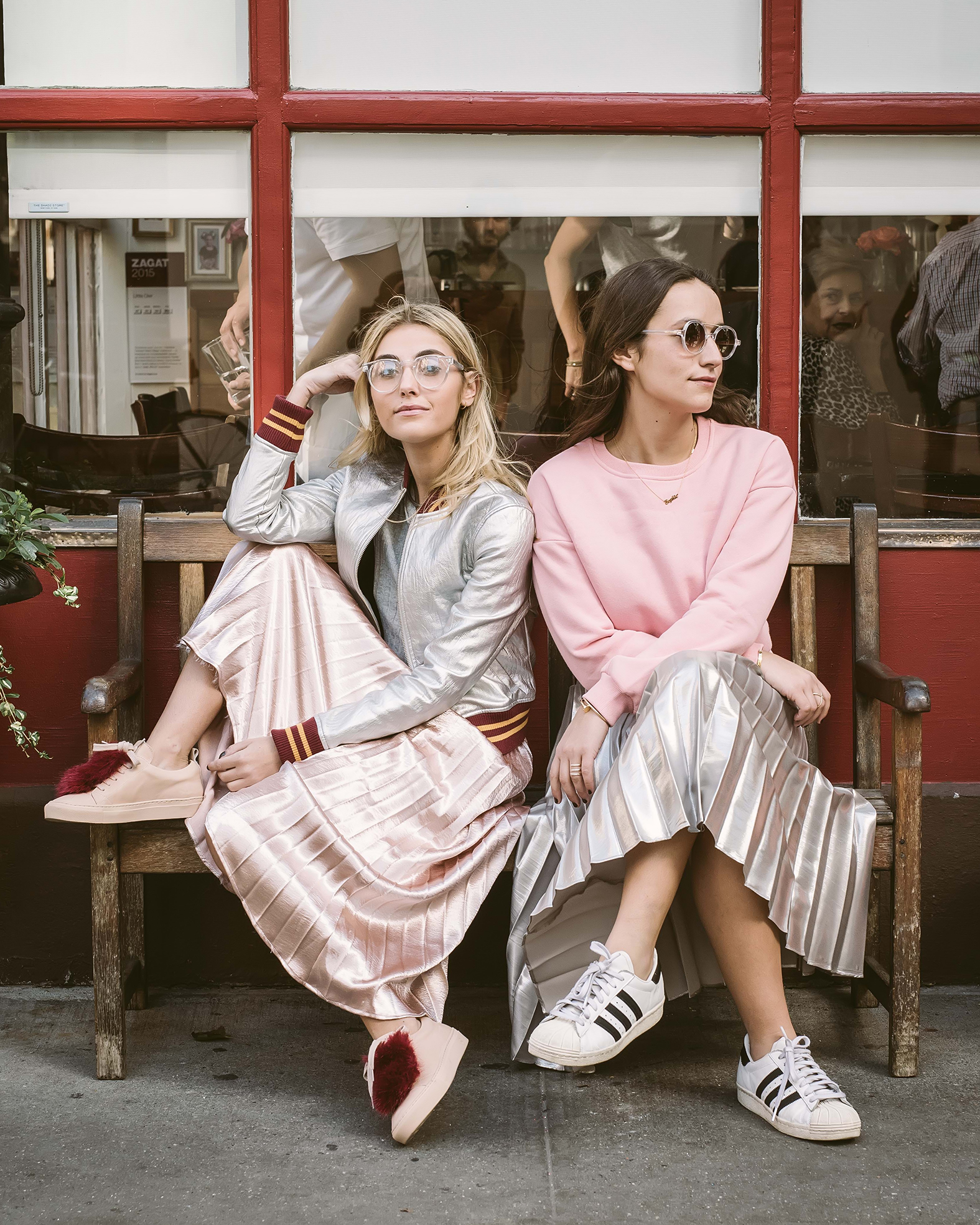 SOPHIE AND CHARLOTTE BICKLEY SISTER FASHION BLOGGERS YIN 2MY YANG PLEATED SKIRTS THUMBNAIL