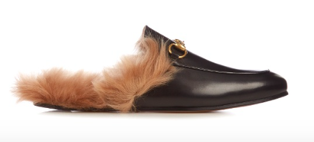 GUCCI PRINCETOWN FURRY SLIDE LOAFERS
