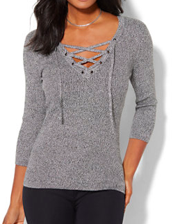 NEW YORK & COMPANY LACE-UP RIBBED SWEATER