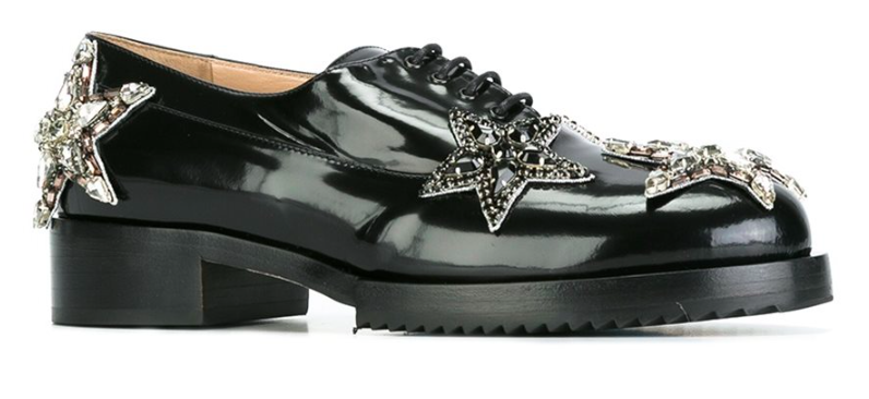 NO21 STAR EMBELLISHED LACE UP SHOES