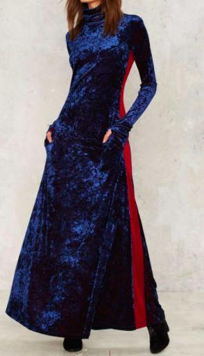 NASTY GAL BLUE VELVET MAXI DRESS