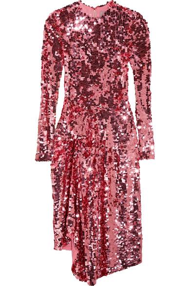 PREEN BY THORNTON BREGAZZI PINK SEQUIN DRESS