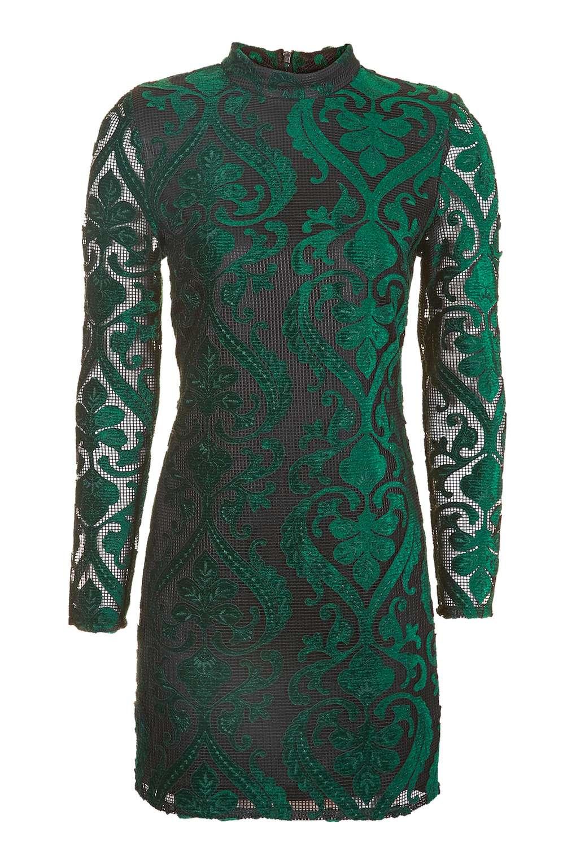 TOPSHOP GREEN VELVET FLOCK DRESS
