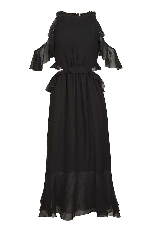 TOPSHOP BLACK RUFFLE OPEN BACK DRESS