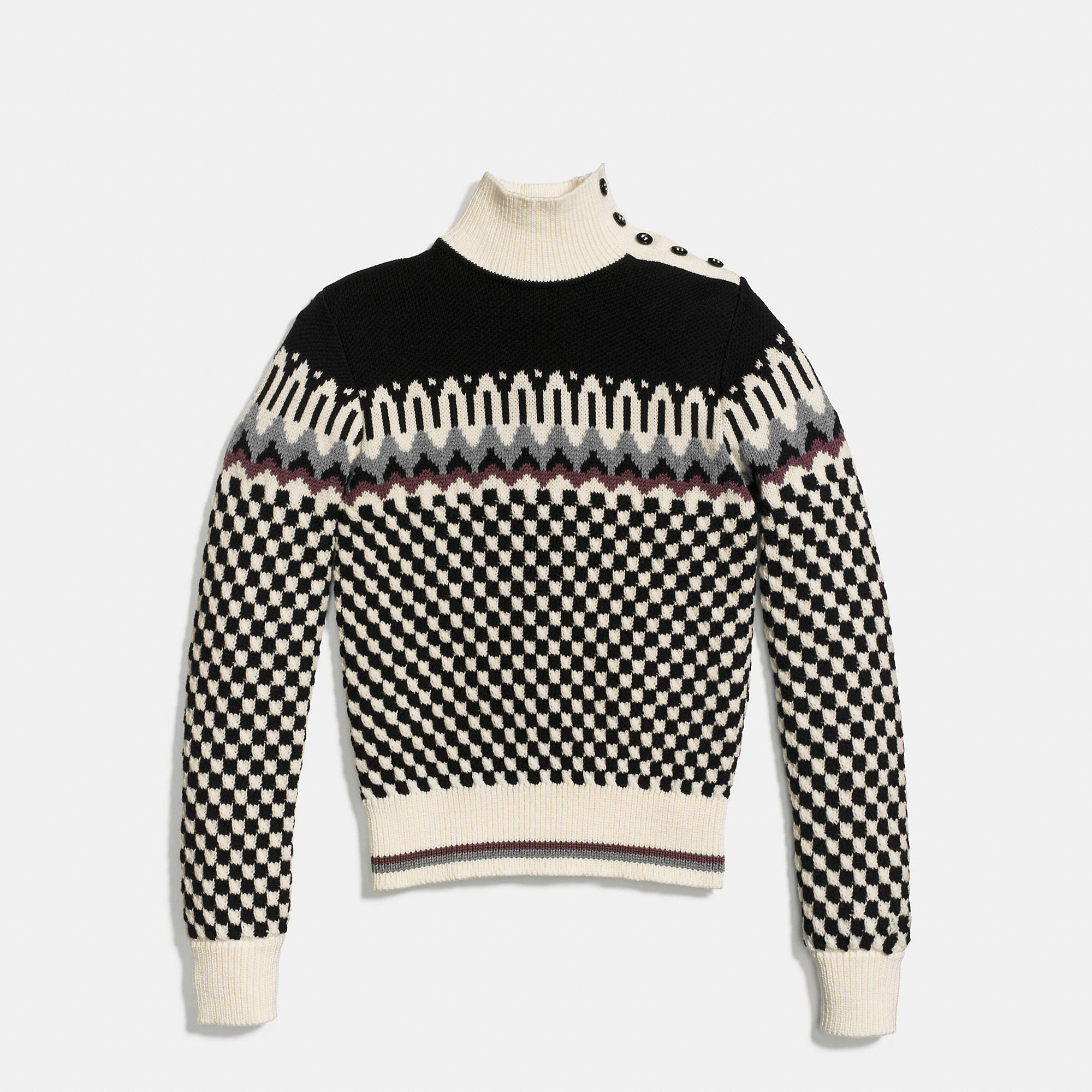 COACH CHECKERBOARD TURTLENECK