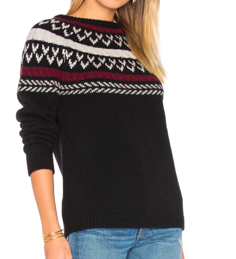 ANNIE BING NECK KNIT DETAIL SWEATER